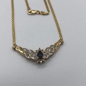 10K Sapphire Baguette Diamond Necklace  Italy WOW!